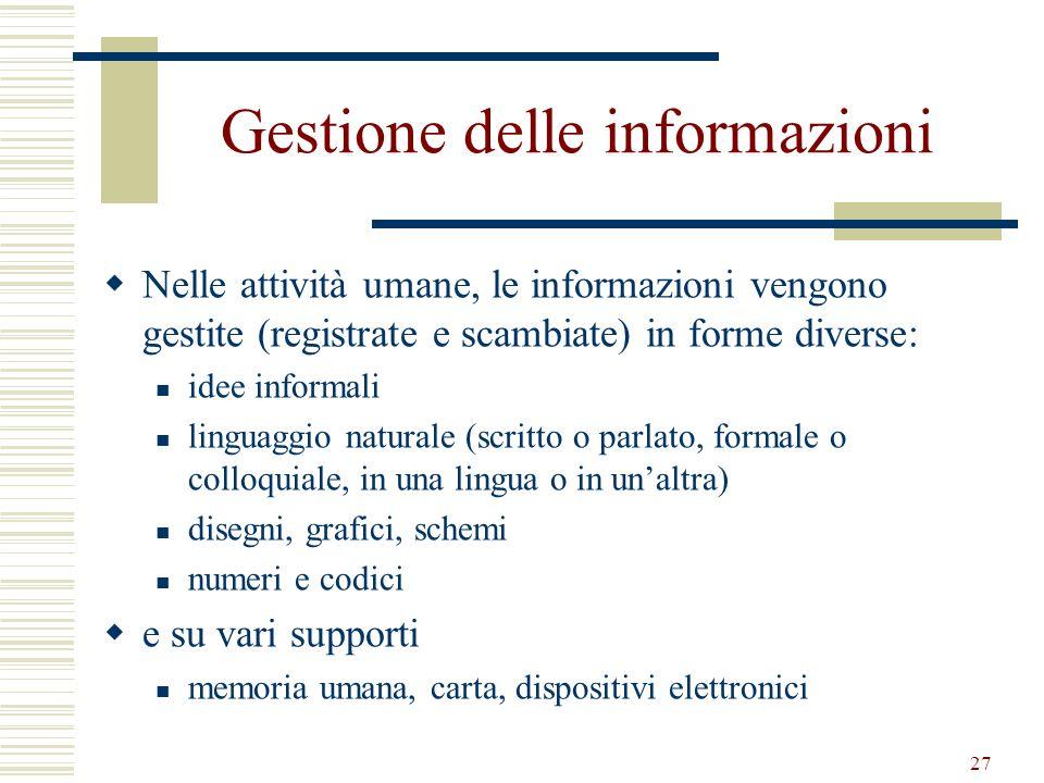 27 Gestione delle informazioni Nelle attività umane, le informazioni vengono gestite (registrate e scambiate) in forme diverse: idee informali linguag