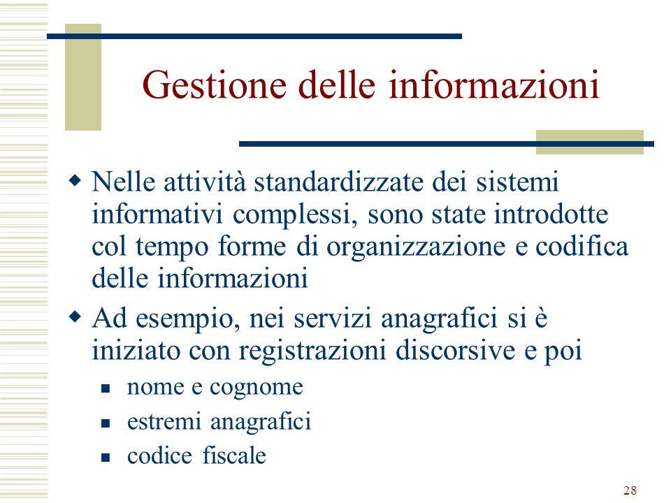28 Gestione delle informazioni Nelle attività standardizzate dei sistemi informativi complessi, sono state introdotte col tempo forme di organizzazion