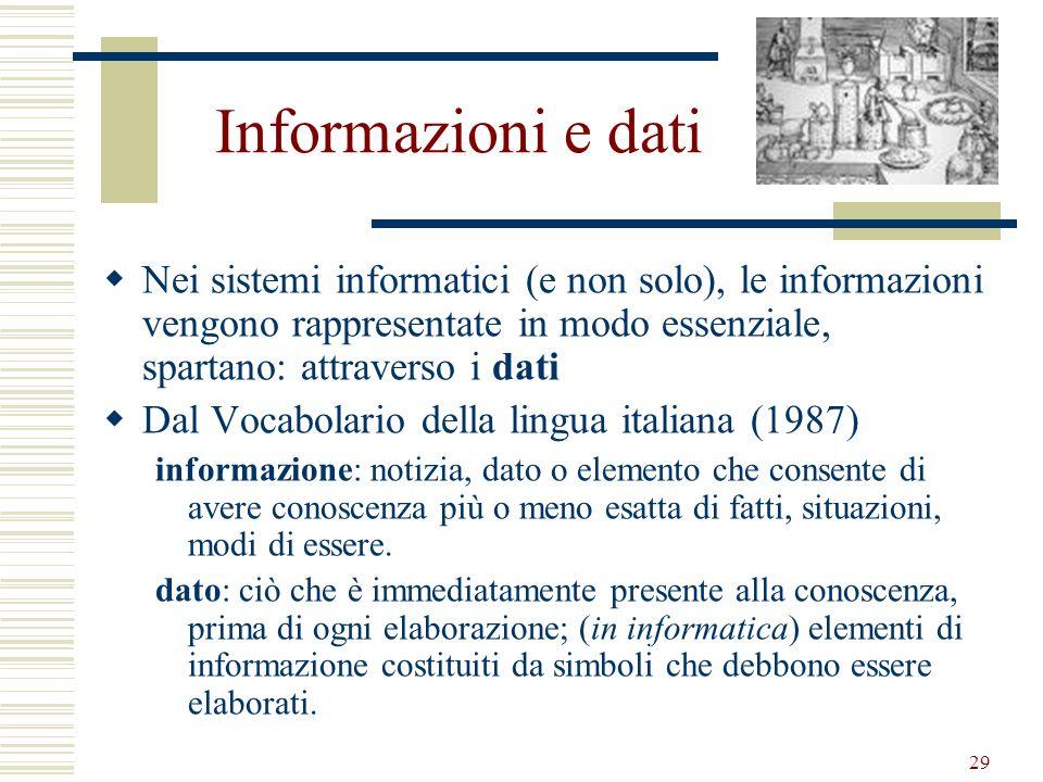 29 Informazioni e dati Nei sistemi informatici (e non solo), le informazioni vengono rappresentate in modo essenziale, spartano: attraverso i dati Dal