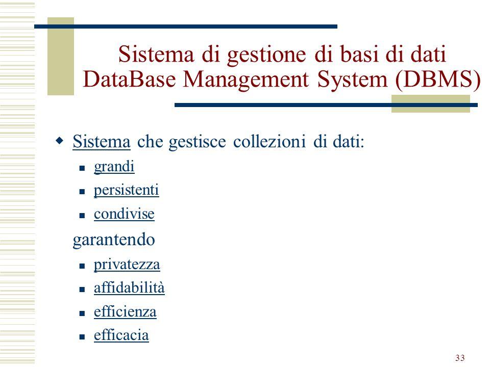 33 Sistema di gestione di basi di dati DataBase Management System (DBMS) Sistema che gestisce collezioni di dati: Sistema grandi persistenti condivise