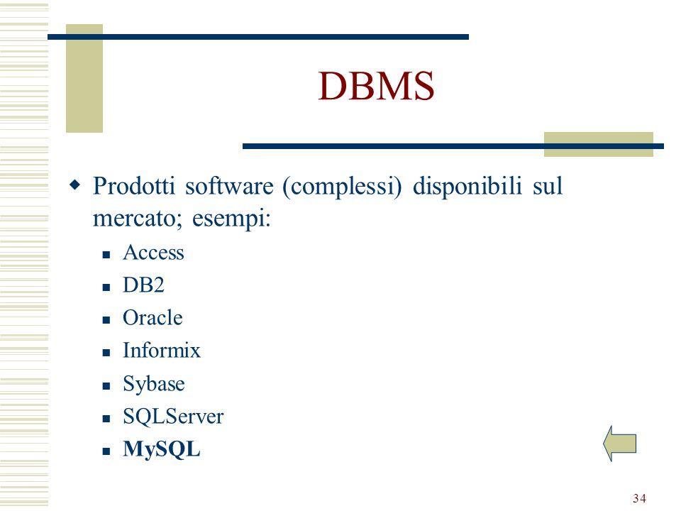 34 DBMS Prodotti software (complessi) disponibili sul mercato; esempi: Access DB2 Oracle Informix Sybase SQLServer MySQL