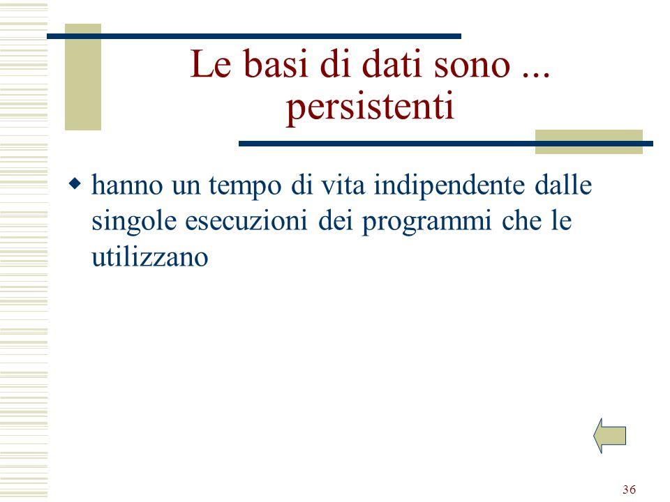 36 Le basi di dati sono... persistenti hanno un tempo di vita indipendente dalle singole esecuzioni dei programmi che le utilizzano