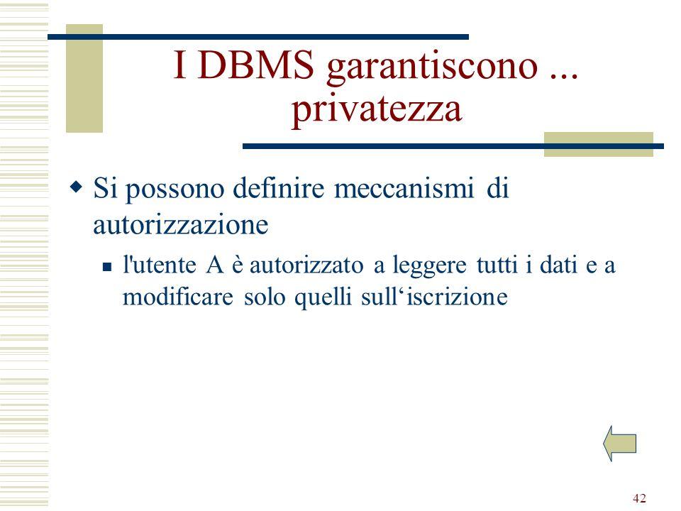 42 I DBMS garantiscono... privatezza Si possono definire meccanismi di autorizzazione l'utente A è autorizzato a leggere tutti i dati e a modificare s