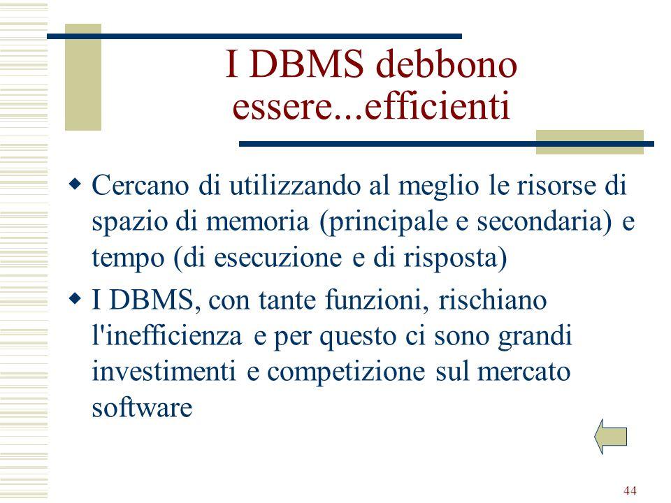 44 I DBMS debbono essere...efficienti Cercano di utilizzando al meglio le risorse di spazio di memoria (principale e secondaria) e tempo (di esecuzion