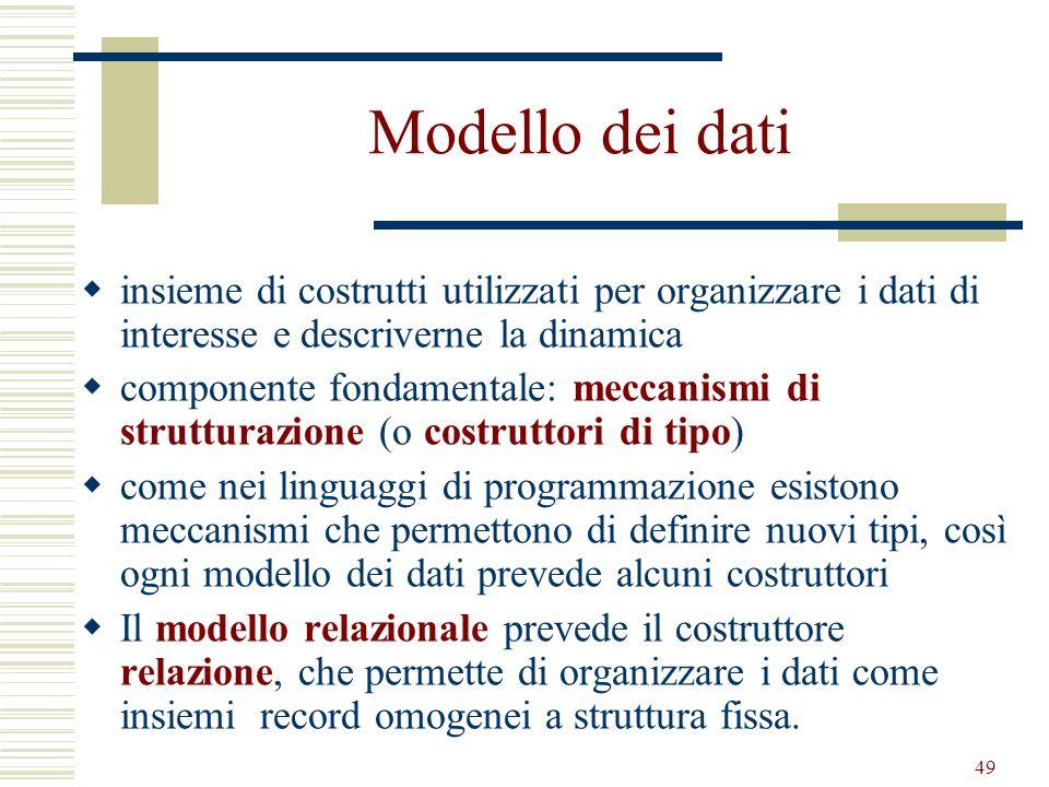 49 Modello dei dati insieme di costrutti utilizzati per organizzare i dati di interesse e descriverne la dinamica componente fondamentale: meccanismi