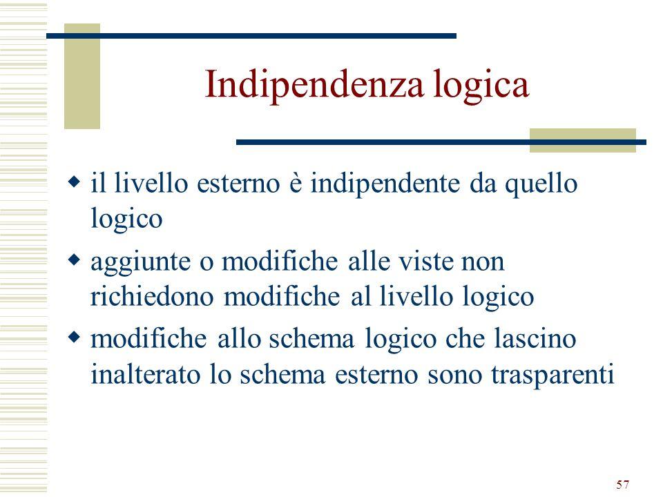57 Indipendenza logica il livello esterno è indipendente da quello logico aggiunte o modifiche alle viste non richiedono modifiche al livello logico m