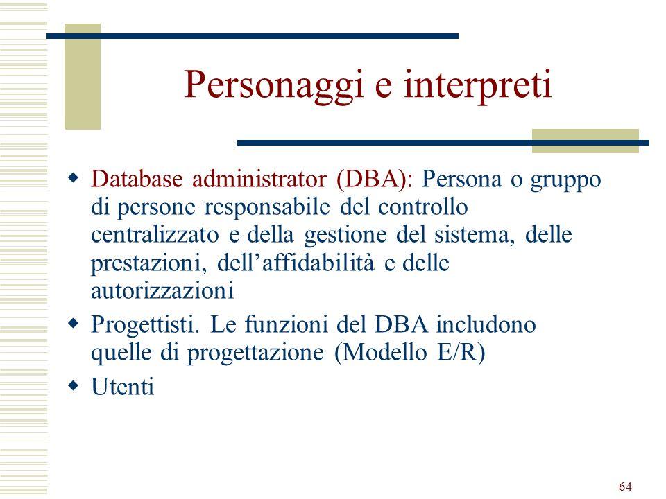 64 Personaggi e interpreti Database administrator (DBA): Persona o gruppo di persone responsabile del controllo centralizzato e della gestione del sis