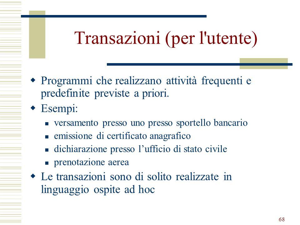68 Transazioni (per l'utente) Programmi che realizzano attività frequenti e predefinite previste a priori. Esempi: versamento presso uno presso sporte