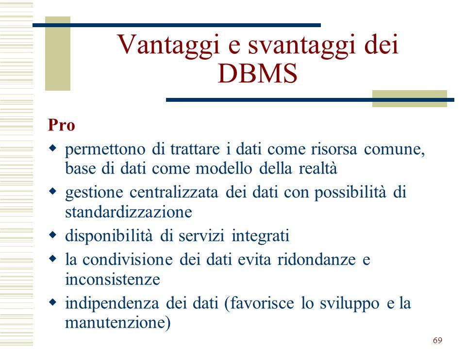 69 Vantaggi e svantaggi dei DBMS Pro permettono di trattare i dati come risorsa comune, base di dati come modello della realtà gestione centralizzata