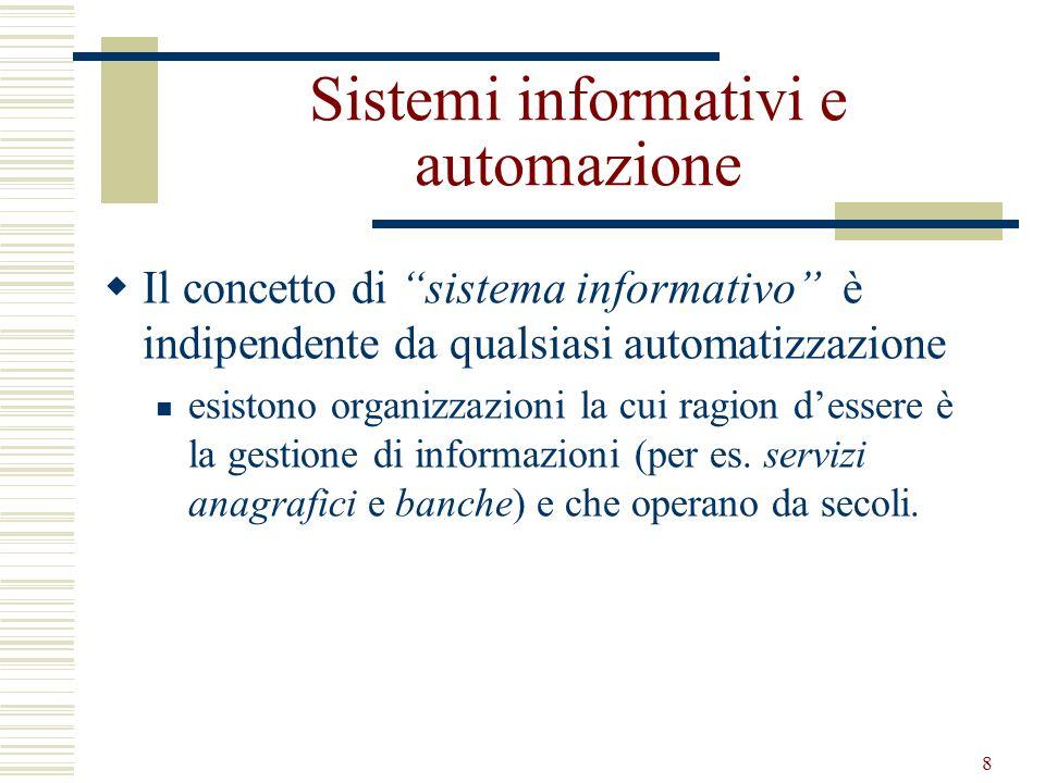 9 Sistema Informatico Porzione automatizzata del sistema informativo: la parte del sistema informativo che gestisce informazioni con tecnologia informatica Anche prima di essere automatizzati, molti sistemi informativi si sono evoluti verso una razionalizzazione e standardizzazione delle procedure e dellorganizzazione delle informazioni
