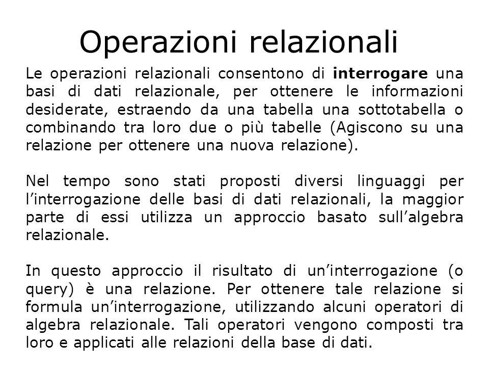 Operazioni relazionali Le operazioni relazionali consentono di interrogare una basi di dati relazionale, per ottenere le informazioni desiderate, estr