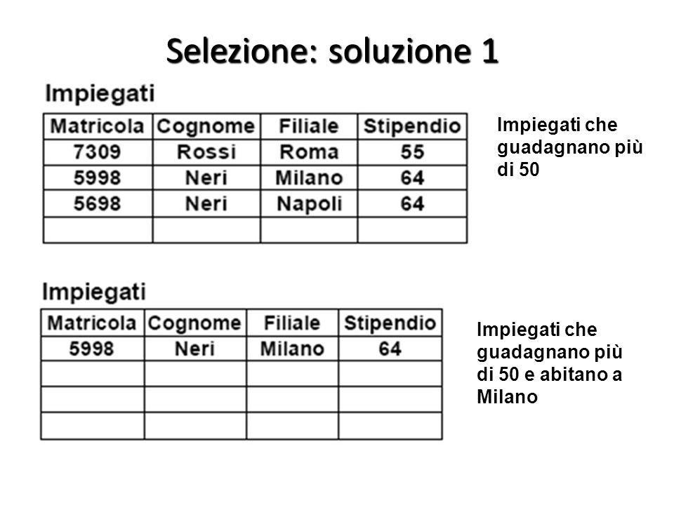 Impiegati che guadagnano più di 50 e abitano a Milano Impiegati che guadagnano più di 50 Selezione: soluzione 1