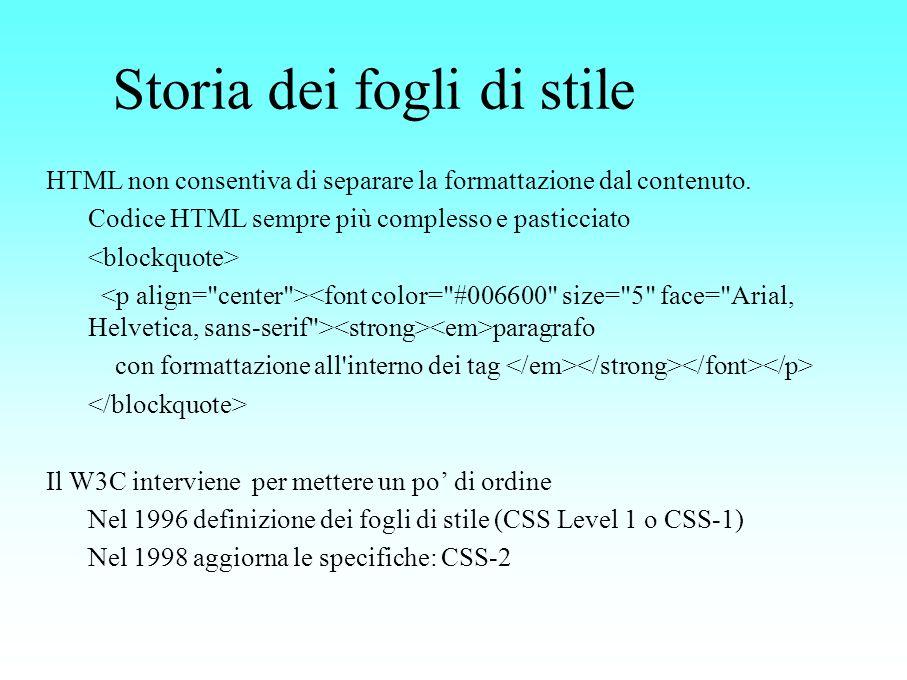 Storia dei fogli di stile HTML non consentiva di separare la formattazione dal contenuto. Codice HTML sempre più complesso e pasticciato paragrafo con
