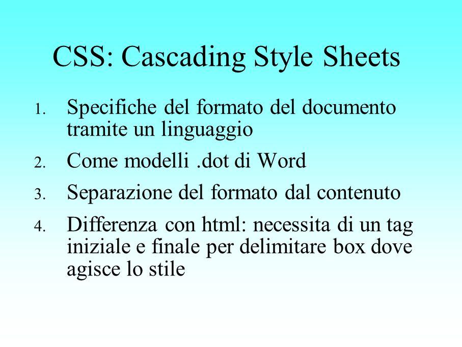 CSS: Cascading Style Sheets 1. Specifiche del formato del documento tramite un linguaggio 2. Come modelli.dot di Word 3. Separazione del formato dal c