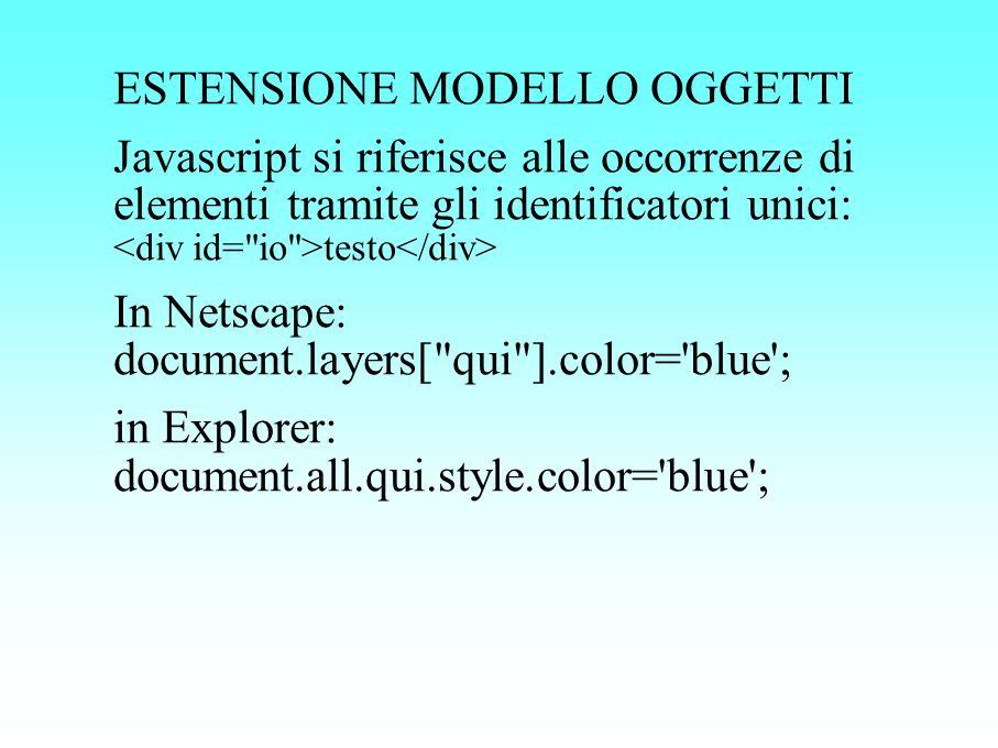 ESTENSIONE MODELLO OGGETTI Javascript si riferisce alle occorrenze di elementi tramite gli identificatori unici: testo In Netscape: document.layers[