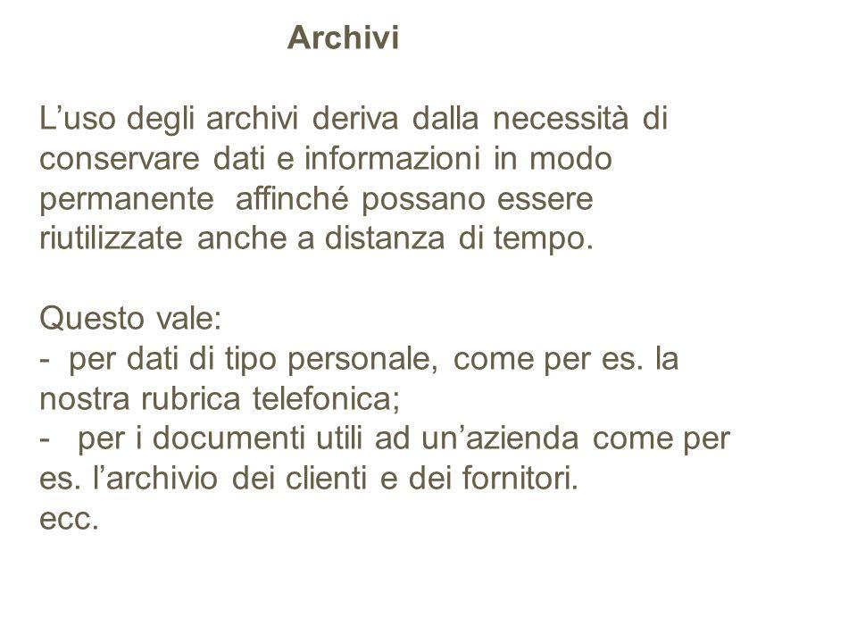 Archivi Luso degli archivi deriva dalla necessità di conservare dati e informazioni in modo permanente affinché possano essere riutilizzate anche a di