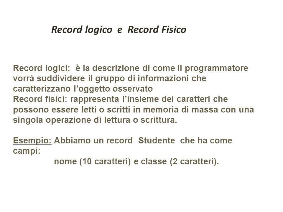 Record logici: è la descrizione di come il programmatore vorrà suddividere il gruppo di informazioni che caratterizzano loggetto osservato Record fisi