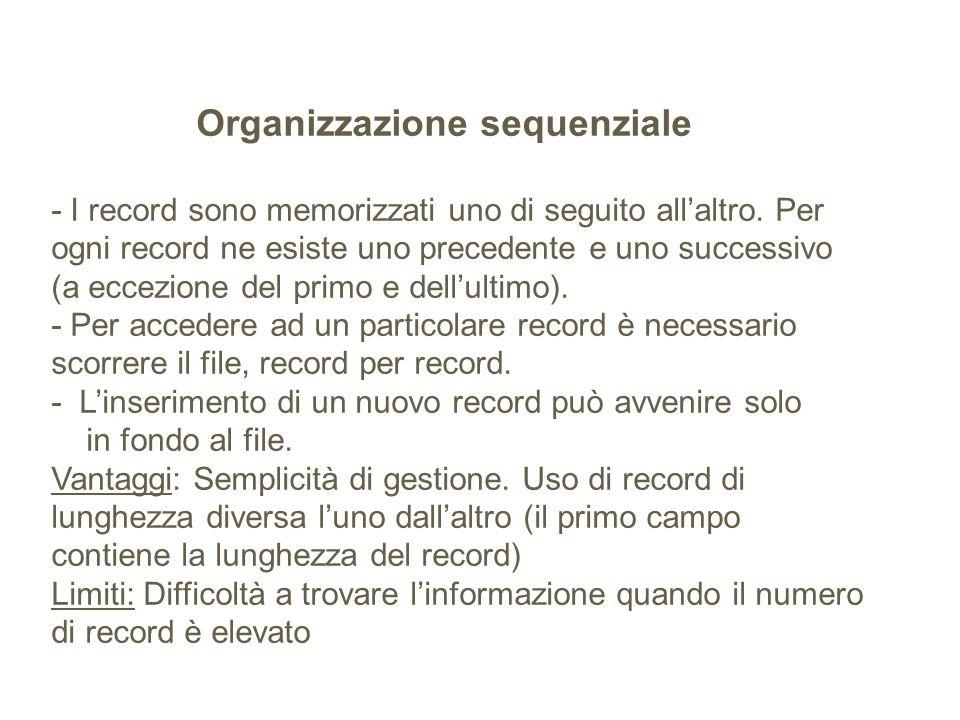 Organizzazione sequenziale - I record sono memorizzati uno di seguito allaltro. Per ogni record ne esiste uno precedente e uno successivo (a eccezione