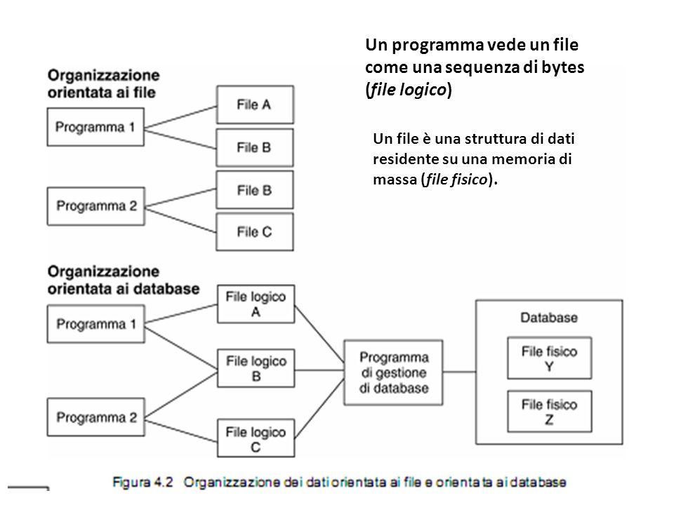 Un programma vede un file come una sequenza di bytes (file logico) Un file è una struttura di dati residente su una memoria di massa (file fisico).