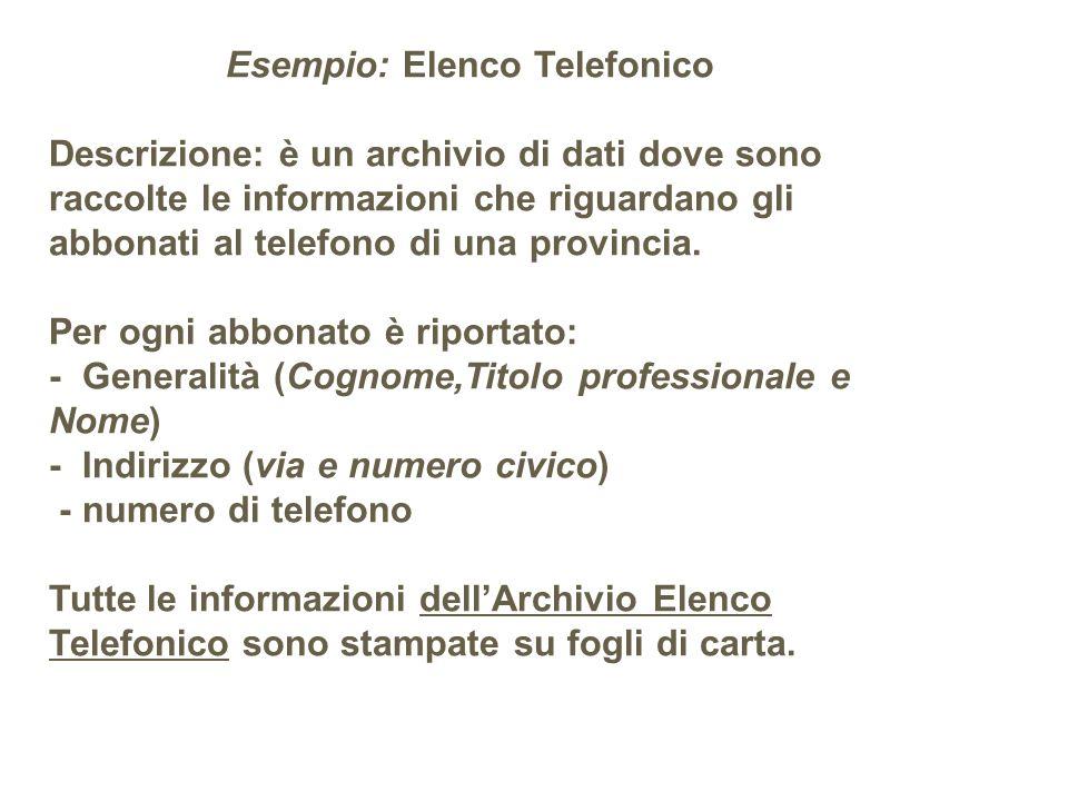 Esempio: Elenco Telefonico Descrizione: è un archivio di dati dove sono raccolte le informazioni che riguardano gli abbonati al telefono di una provin