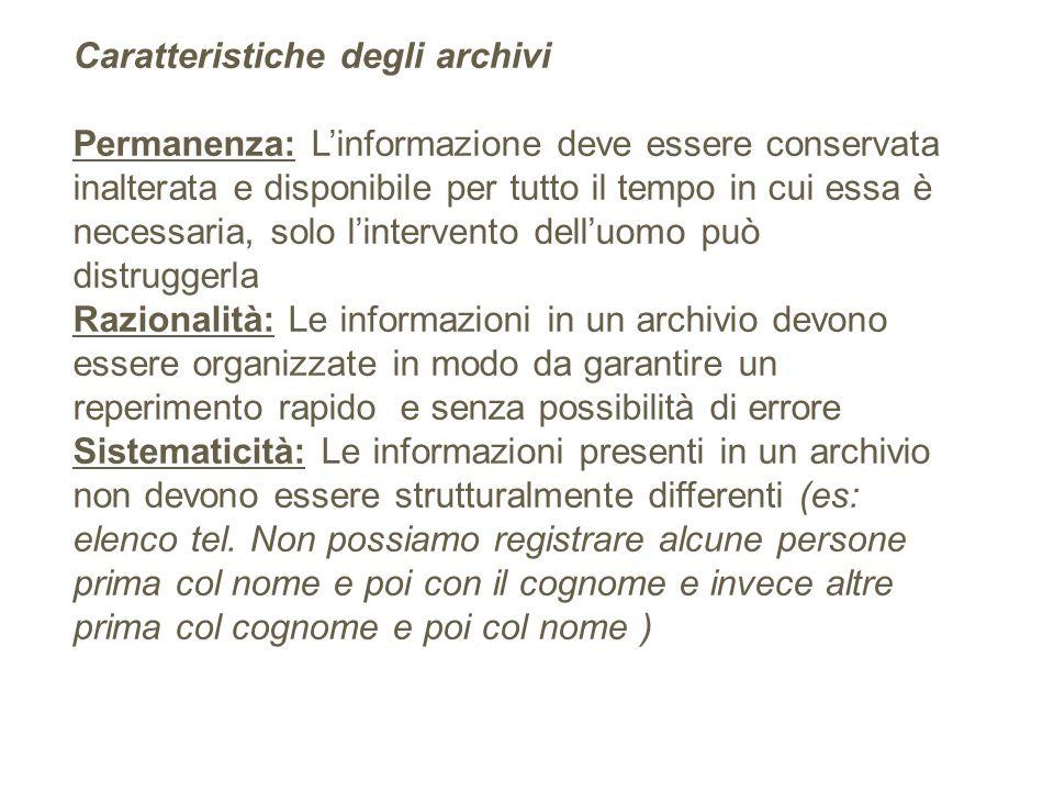 Caratteristiche degli archivi Permanenza: Linformazione deve essere conservata inalterata e disponibile per tutto il tempo in cui essa è necessaria, s