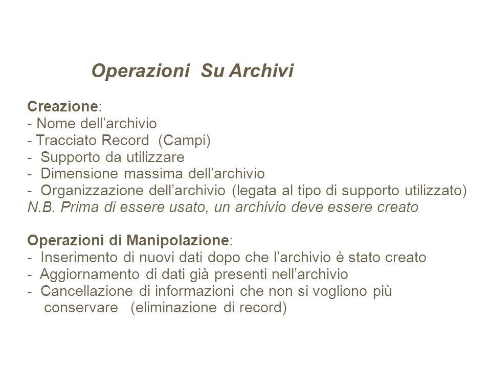 Operazioni Su Archivi Creazione: - Nome dellarchivio - Tracciato Record (Campi) - Supporto da utilizzare - Dimensione massima dellarchivio - Organizza