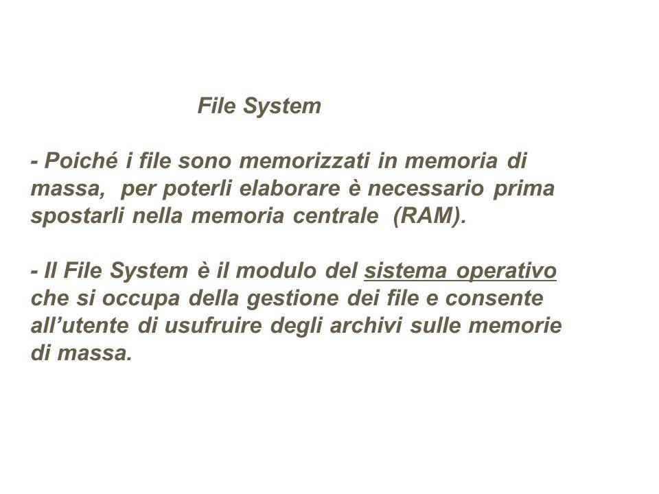 File System - Poiché i file sono memorizzati in memoria di massa, per poterli elaborare è necessario prima spostarli nella memoria centrale (RAM). - I