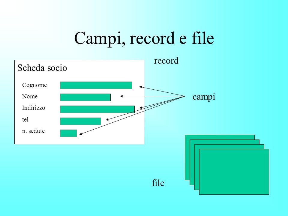 Campi, record e file Cognome Nome Indirizzo tel n. sedute Scheda socio record campi file