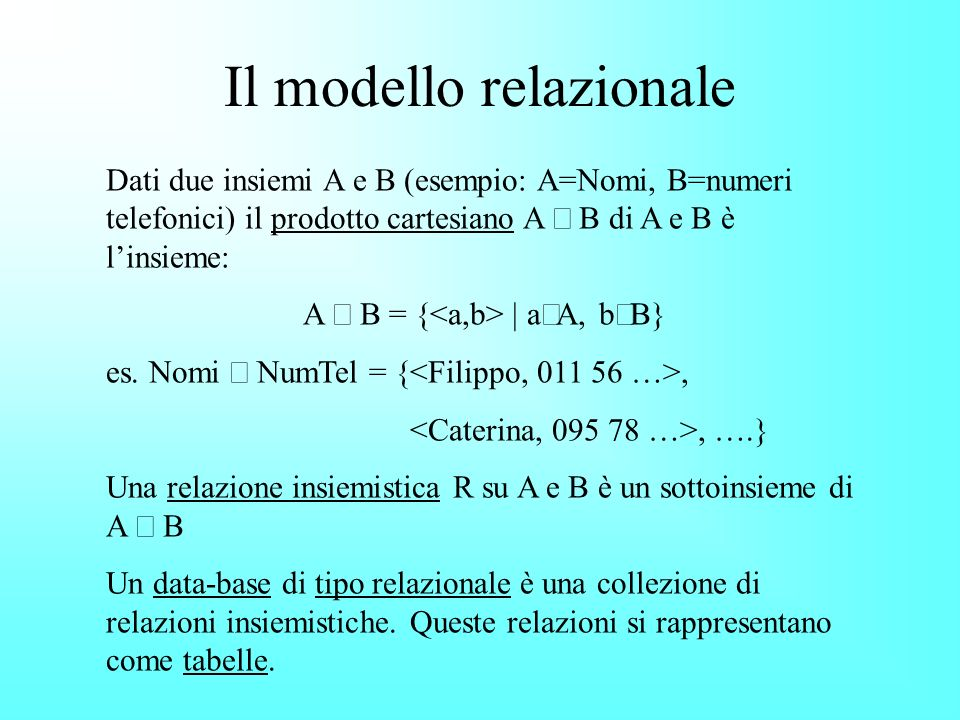 Il modello relazionale Dati due insiemi A e B (esempio: A=Nomi, B=numeri telefonici) il prodotto cartesiano A B di A e B è linsieme: A B = { | a A, b B} es.