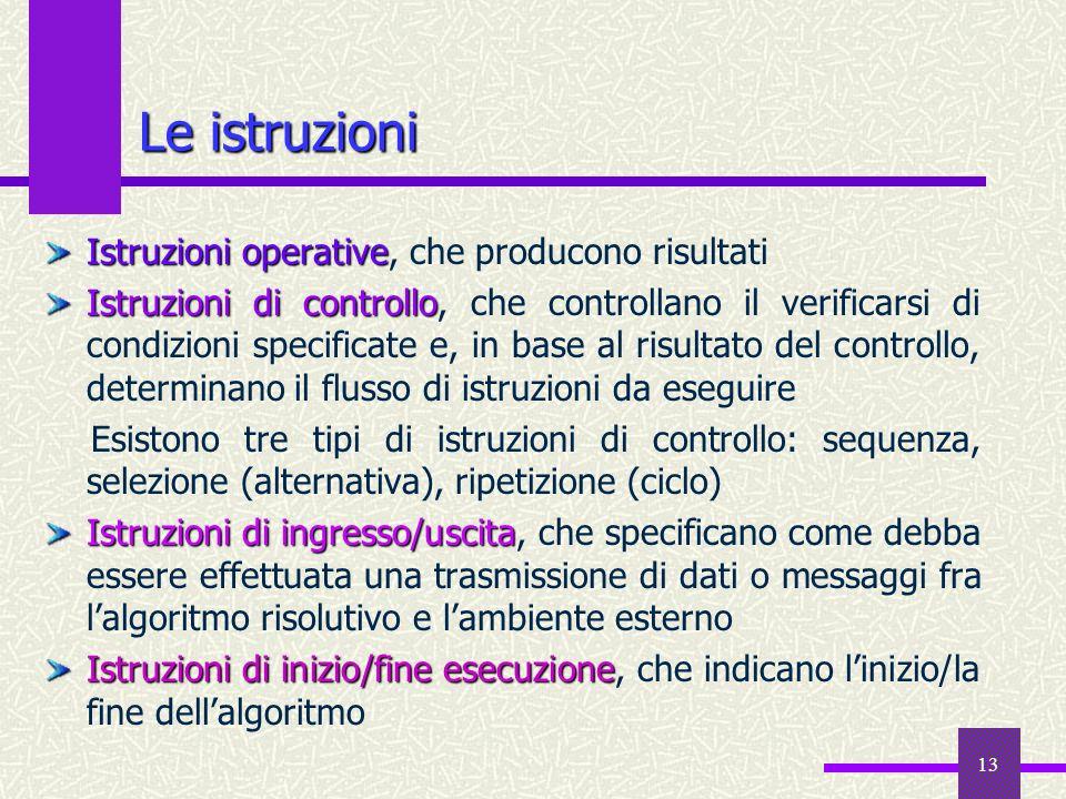 13 Istruzioni operative Istruzioni operative, che producono risultati Istruzioni di controllo Istruzioni di controllo, che controllano il verificarsi