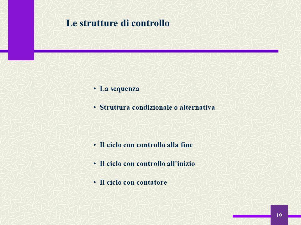 19 Le strutture di controllo La sequenza Struttura condizionale o alternativa Il ciclo con controllo alla fine Il ciclo con controllo all'inizio Il ci