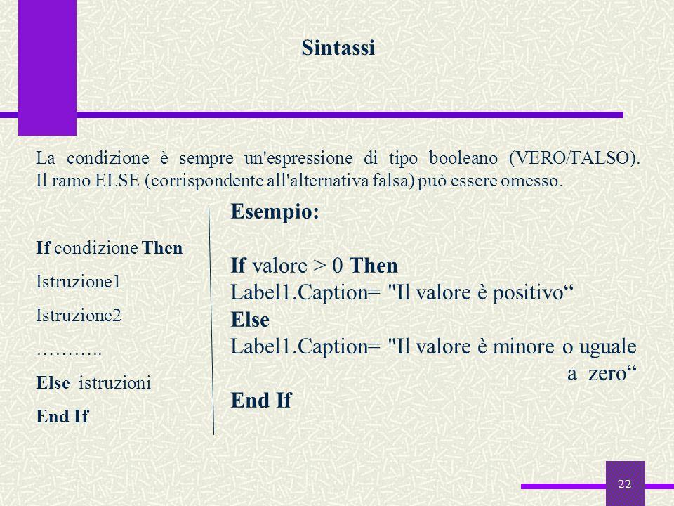 22 Sintassi La condizione è sempre un'espressione di tipo booleano (VERO/FALSO). Il ramo ELSE (corrispondente all'alternativa falsa) può essere omesso