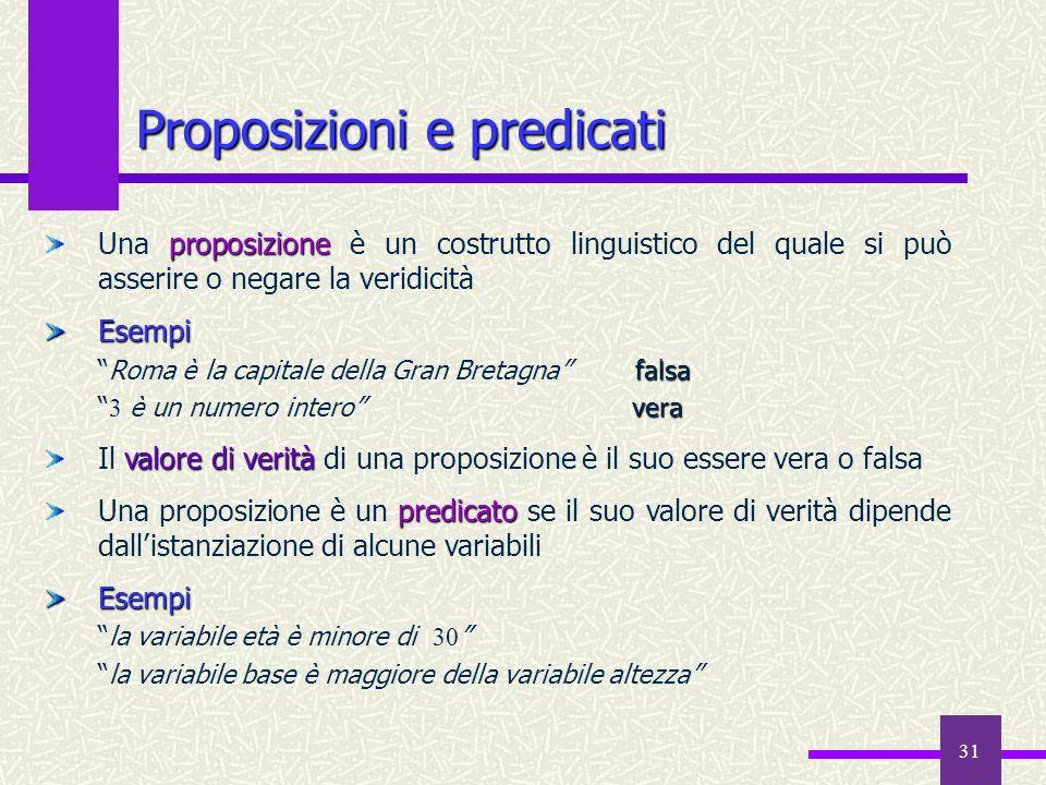31 Proposizioni e predicati proposizione Una proposizione è un costrutto linguistico del quale si può asserire o negare la veridicitàEsempi falsaRoma