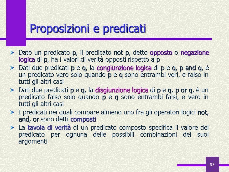 33 pnotpoppostonegazione logicap p Dato un predicato p, il predicato not p, detto opposto o negazione logica di p, ha i valori di verità opposti rispe