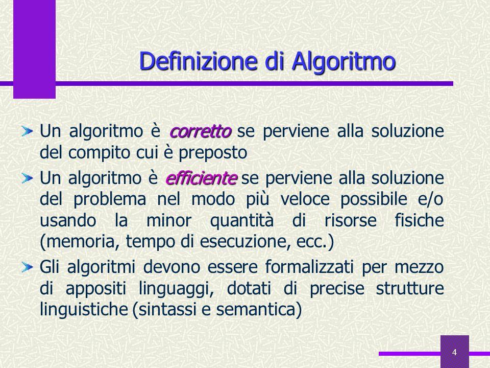 4 Definizione di Algoritmo corretto Un algoritmo è corretto se perviene alla soluzione del compito cui è preposto efficiente Un algoritmo è efficiente