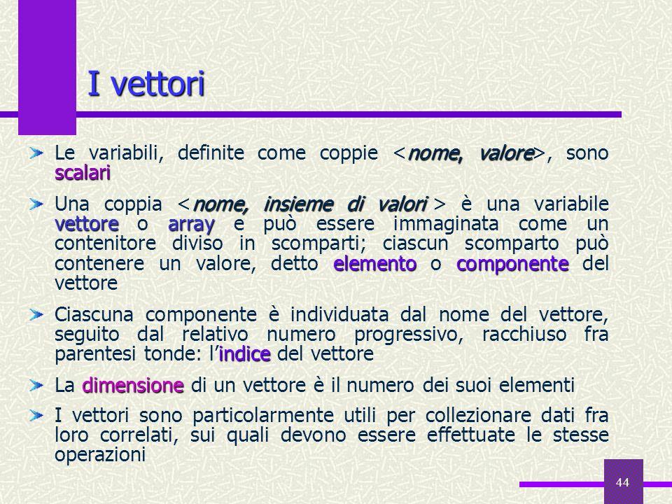 44 nome, valore scalari Le variabili, definite come coppie, sono scalari nome, insieme di valori vettorearray elementocomponente Una coppia è una vari