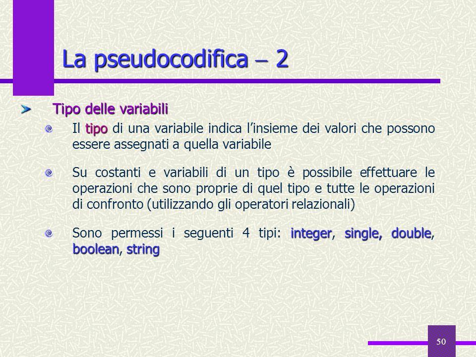 50 Tipo delle variabili tipo Il tipo di una variabile indica linsieme dei valori che possono essere assegnati a quella variabile Su costanti e variabi
