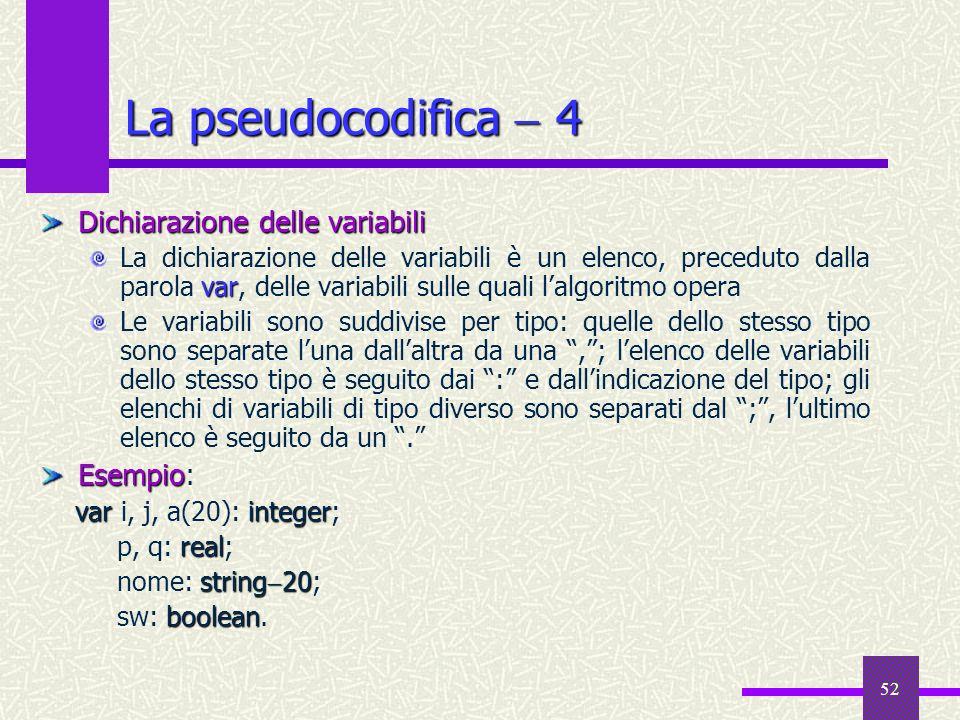 52 Dichiarazione delle variabili var La dichiarazione delle variabili è un elenco, preceduto dalla parola var, delle variabili sulle quali lalgoritmo