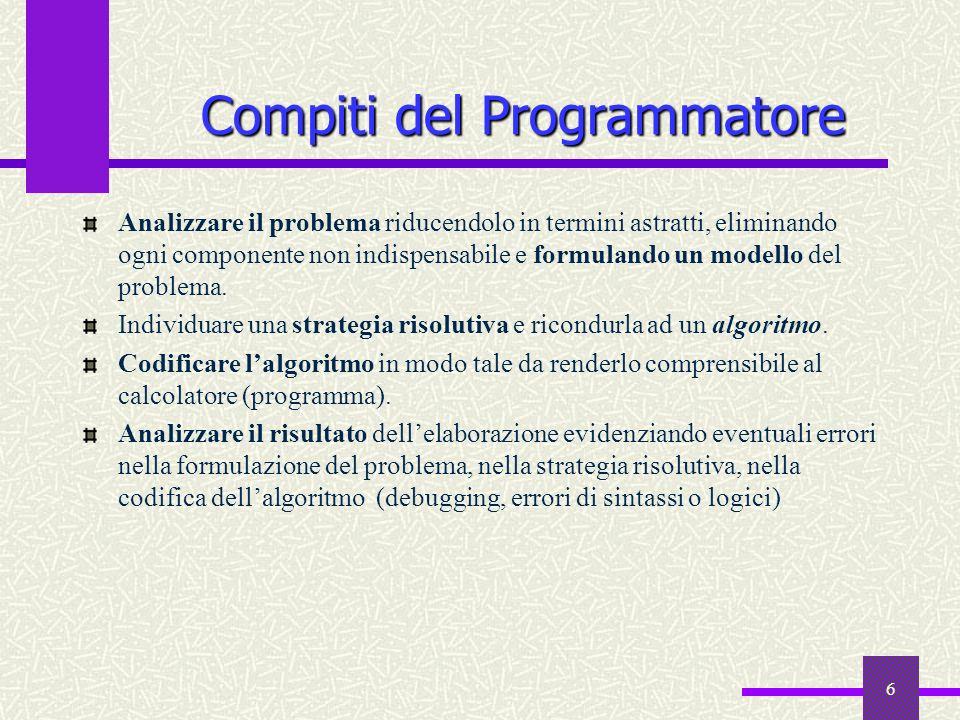 6 Compiti del Programmatore Analizzare il problema riducendolo in termini astratti, eliminando ogni componente non indispensabile e formulando un mode