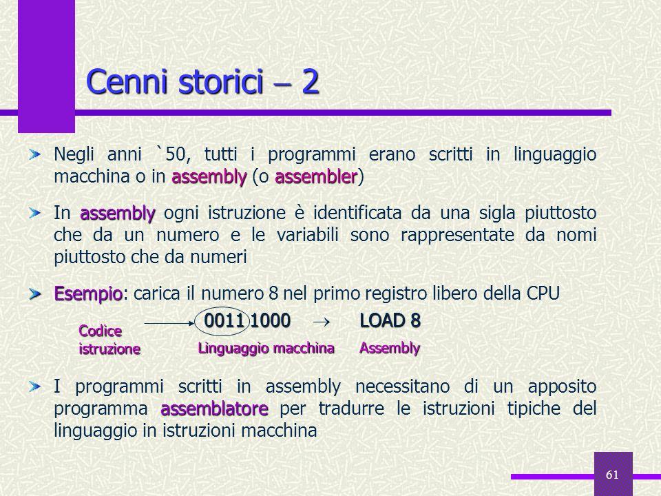 61 assembly assembler Negli anni `50, tutti i programmi erano scritti in linguaggio macchina o in assembly (o assembler) assembly In assembly ogni ist