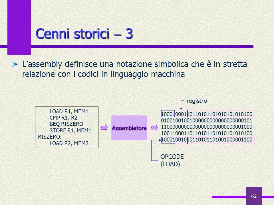62 Cenni storici 3 Lassembly definisce una notazione simbolica che è in stretta relazione con i codici in linguaggio macchina LOAD R1, MEM1 CMP R1, R2