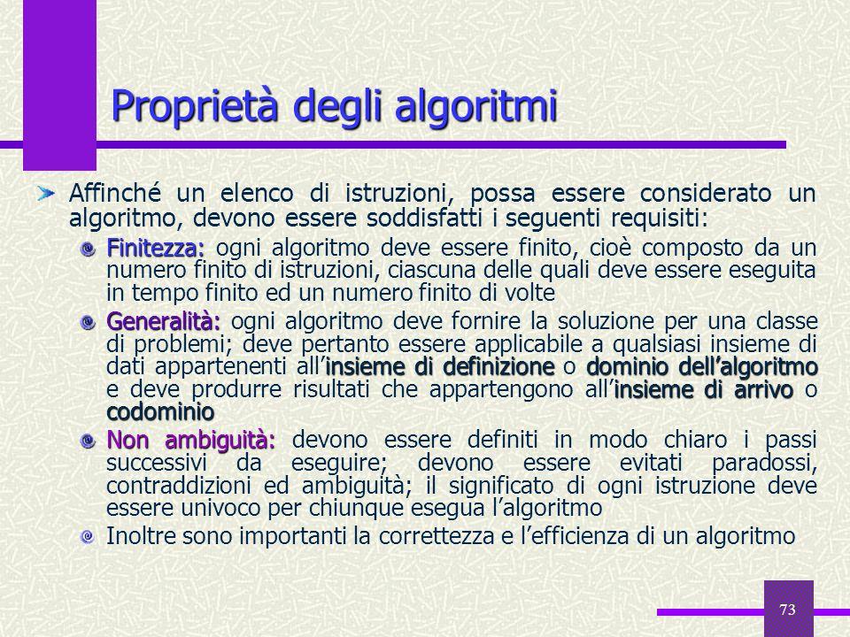73 Affinché un elenco di istruzioni, possa essere considerato un algoritmo, devono essere soddisfatti i seguenti requisiti: Finitezza: Finitezza: ogni