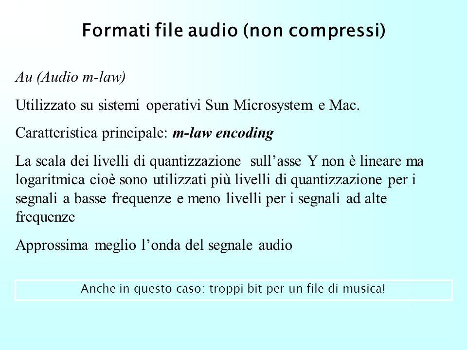 Formati file audio (non compressi) Wav Utilizzato su sistemi operativi Microsoft Windows. Valori consentiti: Frequenza di campionamento: 11KHz, 22 KHz