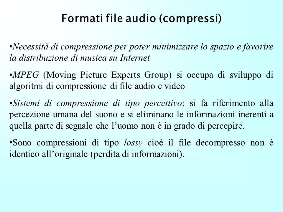 Formati file audio (non compressi) Au (Audio m-law) Utilizzato su sistemi operativi Sun Microsystem e Mac. Caratteristica principale: m-law encoding L