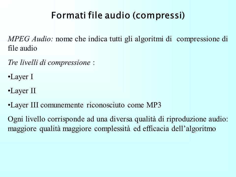 Formati file audio (compressi) Necessità di compressione per poter minimizzare lo spazio e favorire la distribuzione di musica su Internet MPEG (Movin
