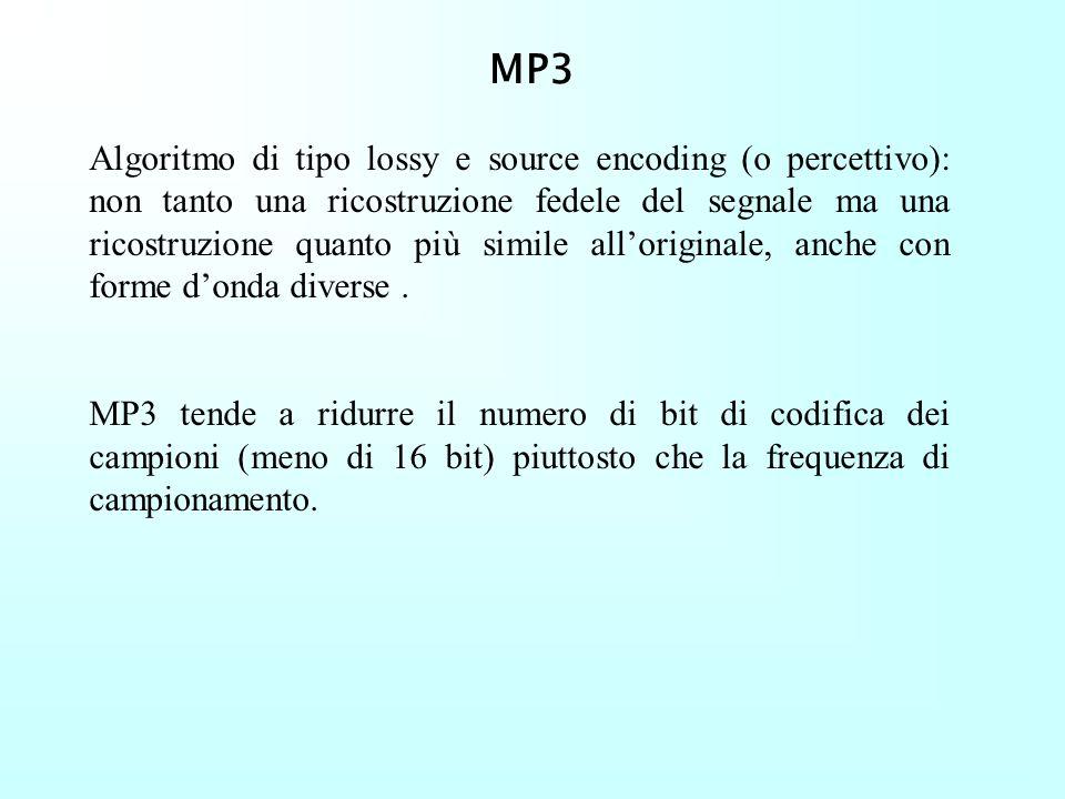 Formati file audio (compressi) MPEG Audio: nome che indica tutti gli algoritmi di compressione di file audio Tre livelli di compressione : Layer I Lay