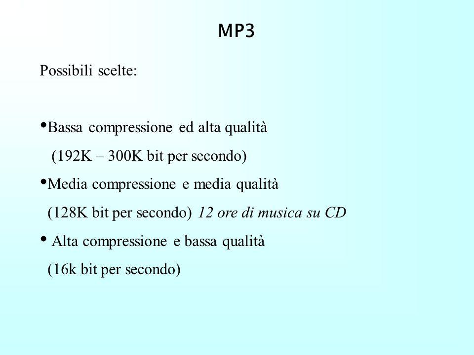 MP3 Algoritmo di tipo lossy e source encoding (o percettivo): non tanto una ricostruzione fedele del segnale ma una ricostruzione quanto più simile al