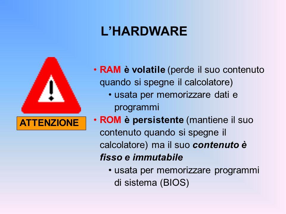 DISPOSITIVI OTTICI 1984, CD-ROM (Compact-Disk Read-Only Memory) Capacità: > 600 MB Costo: < 1 Velocità di trasferimento: – originariamente 150 KByte / s ( 1X ) – oggi 32, 40, 52X volte tanto… Ormai il CD è il principale mezzo per lo scambio di grandi quantità di informazioni: installazione di nuovi programmi di utilità archiviazione di immagini, suoni, dati multimediali copie di sicurezza (backup) distribuzione di materiale pubblicitario o di prova Affidabilità: fino a 10-15 anni.