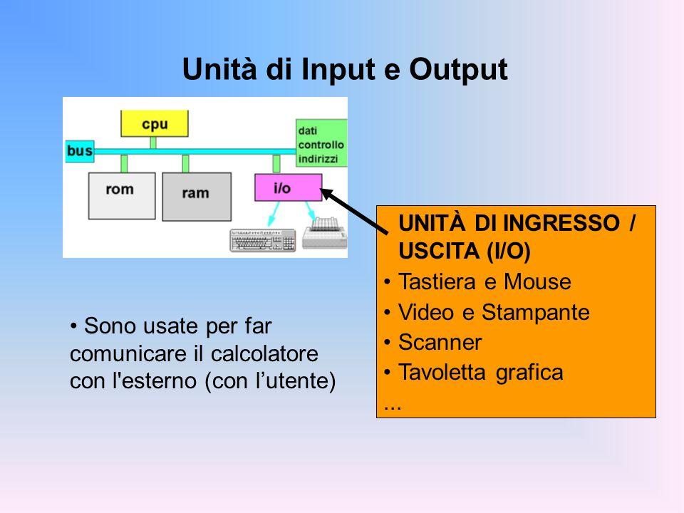 Memoria secondaria o Memoria di massa memorizza grandi quantità di informazioni persistente (le informazioni non si perdono spegnendo la macchina) accesso molto meno rapido della memoria centrale (millisecondi contro nanosecondi / differenza 10 6 ) MEMORIA DI MASSA Dischi CD,DVD Nastri Penna ottica