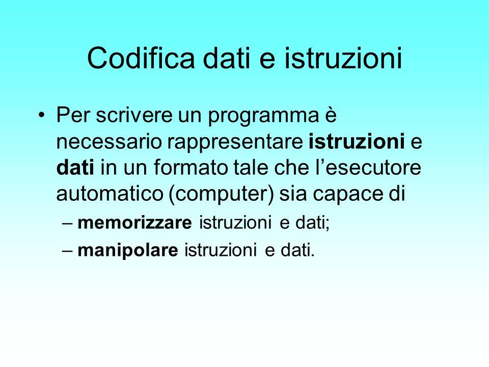 Codifica dati e istruzioni Per scrivere un programma è necessario rappresentare istruzioni e dati in un formato tale che lesecutore automatico (comput